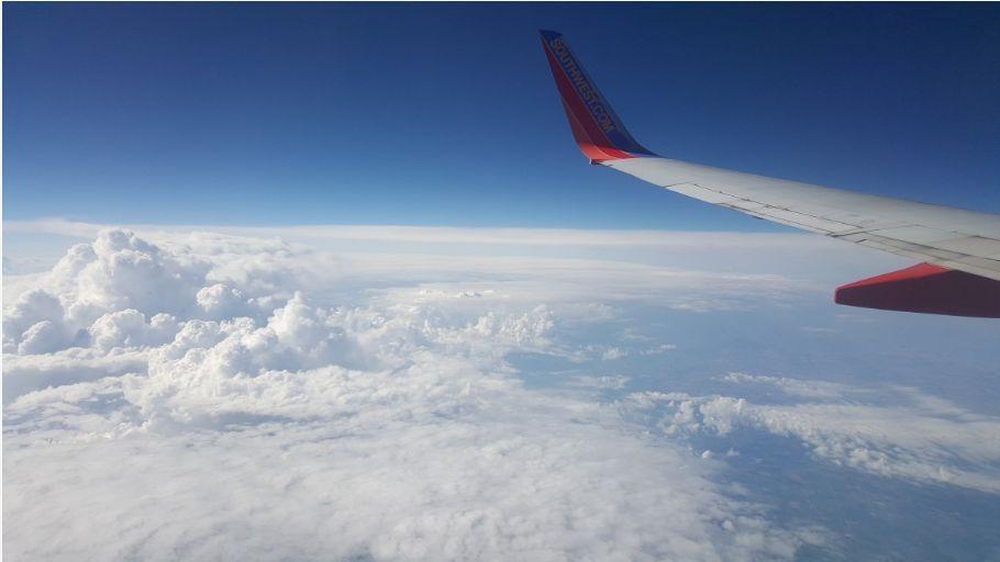Airplane in sky flying