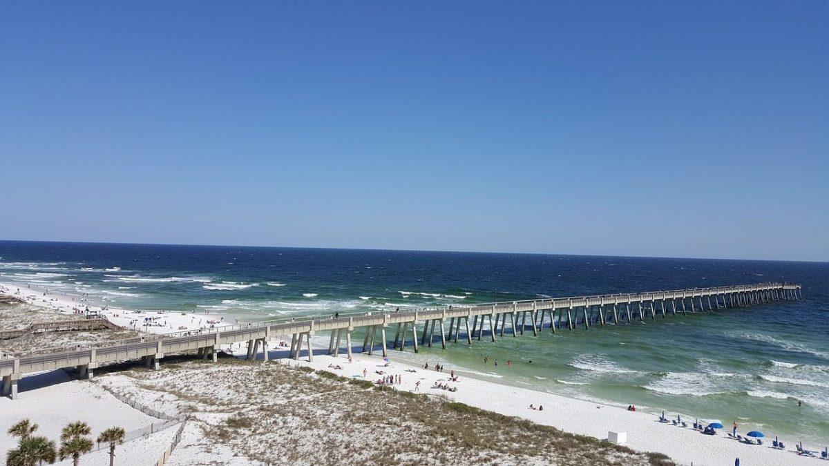 Gulf coast pier over beach