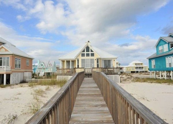 View of Gulf Shores vacation rental from its private boardwalk