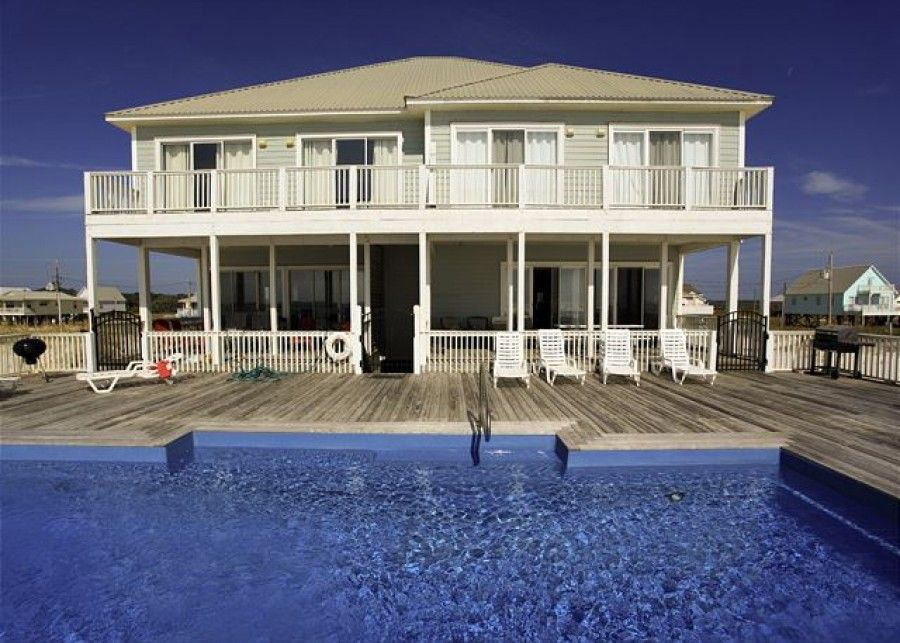 Back porch and pool at Gulf Shores vacation rental