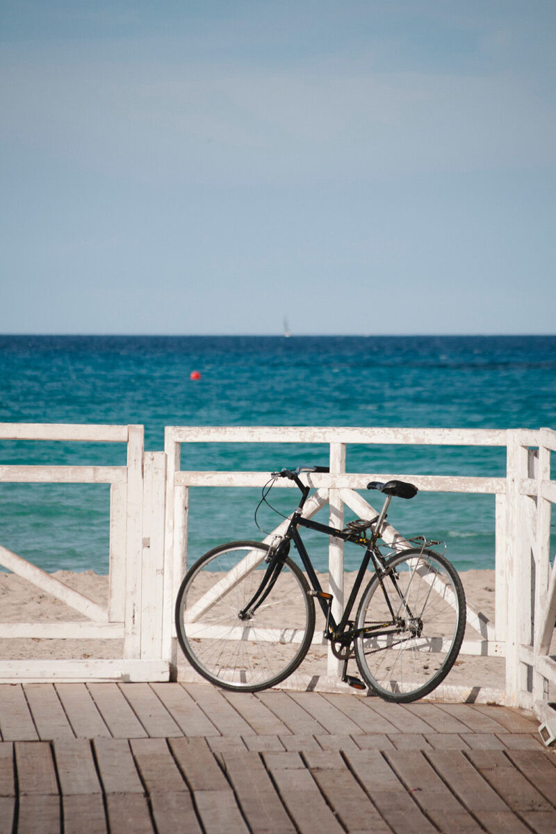 Bike leaning up on the pier overlooking the water