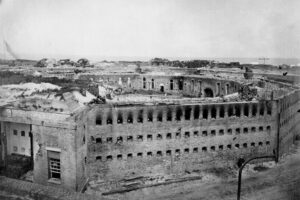 black and white photo of Fort Morgan