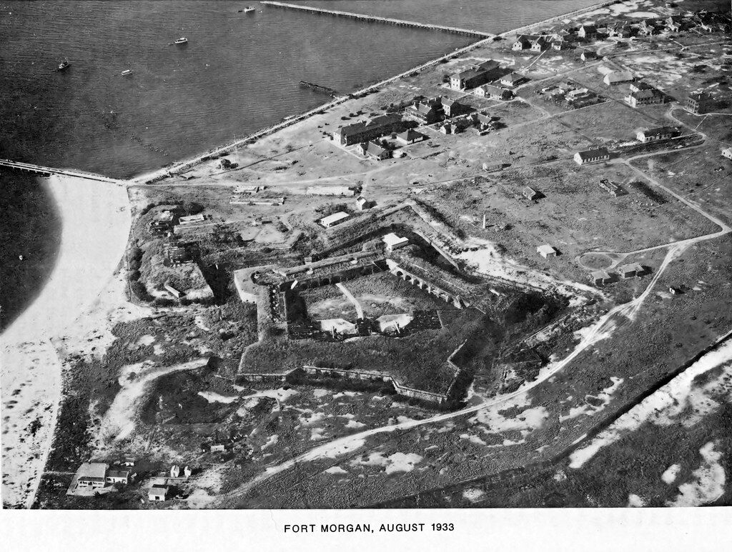 old black and white photo of fort morgan