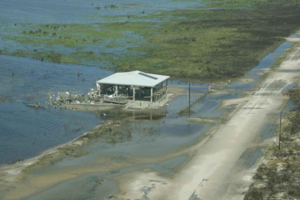 hurricane damage - lone building