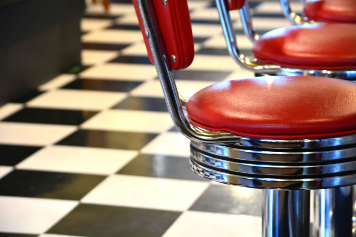Classic Diner Bar Chairs on a checkerboard floor