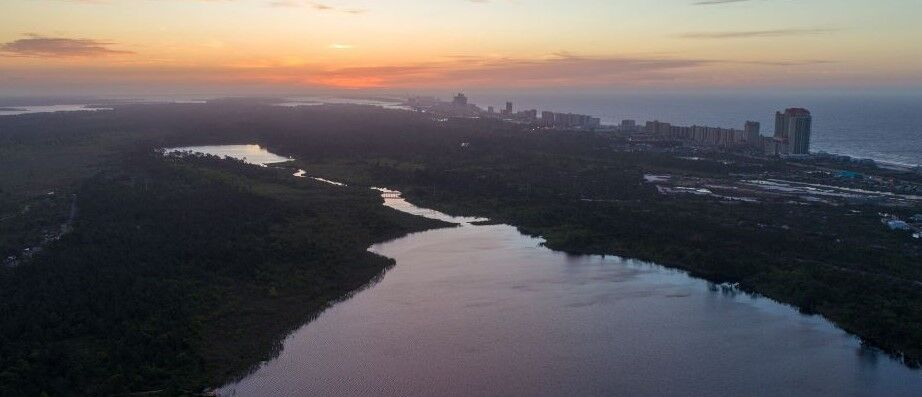 fort morgan sunset aerial photo