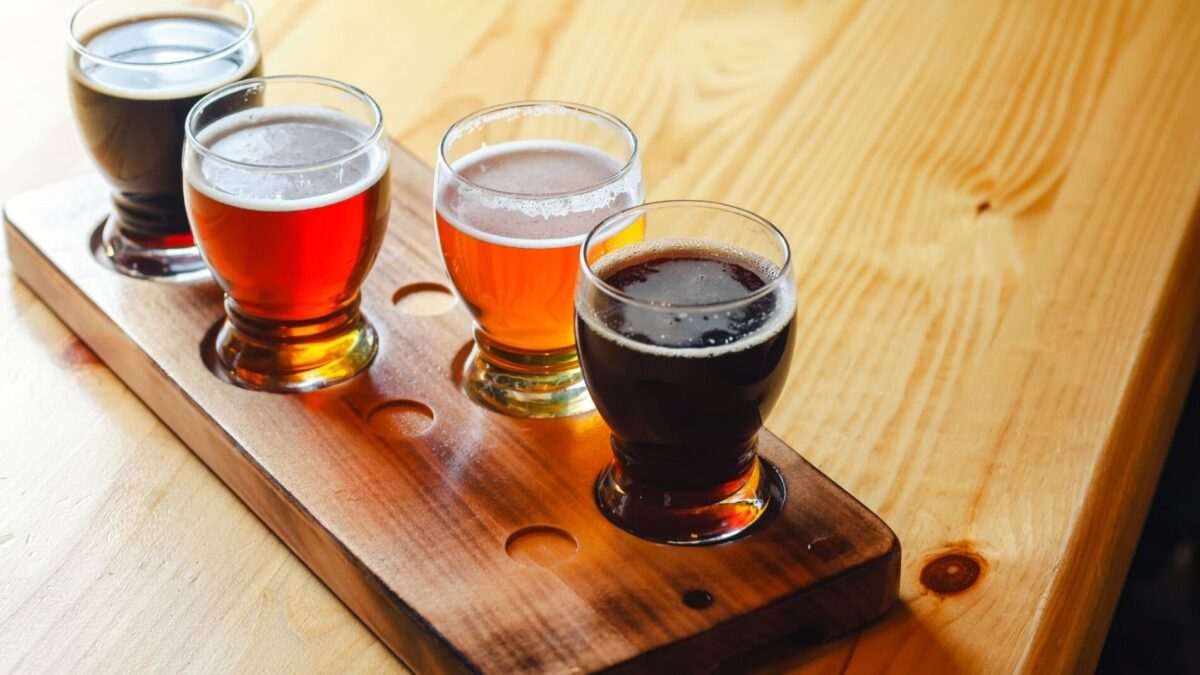 tasty beer flight ready for sampling near our Gulf Shores rentals