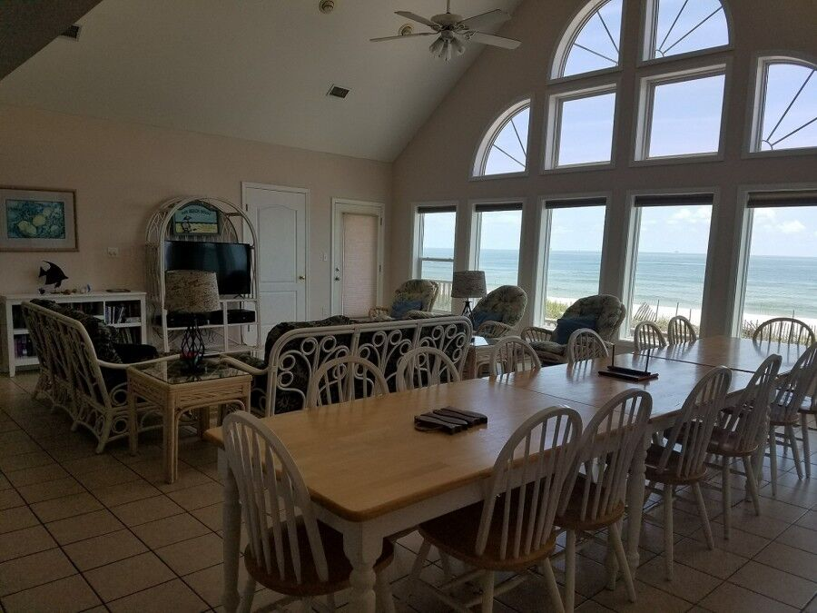 The beautiful living room of our gulf shores beachfront rentals