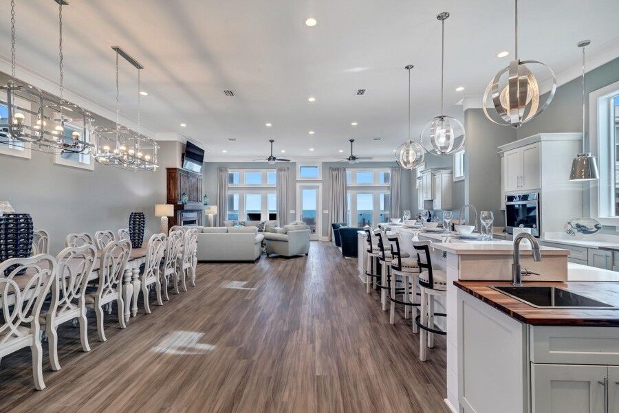 Incredible up to date kitchen in our fort morgan gulf front rentals  with beachfront views