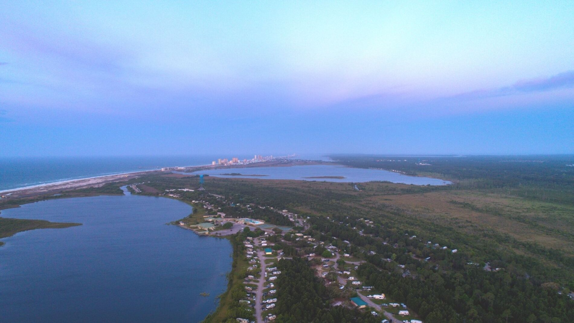 A beautiful shot of Gulf Shores from the air near our gulf shores gulf front rentals